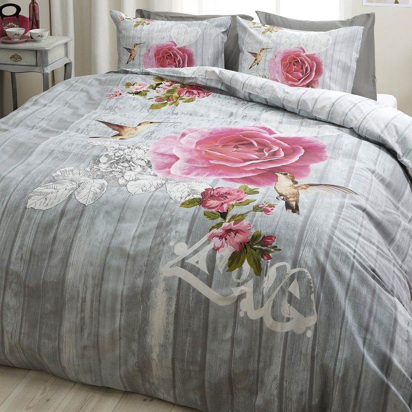 housse de couette et deux taies 240 cm oiseau et la rose. Black Bedroom Furniture Sets. Home Design Ideas