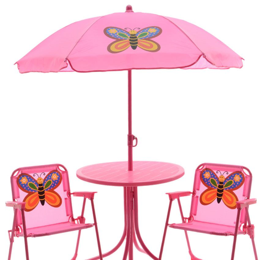 salon de jardin pour enfant papillon rose mobilier. Black Bedroom Furniture Sets. Home Design Ideas