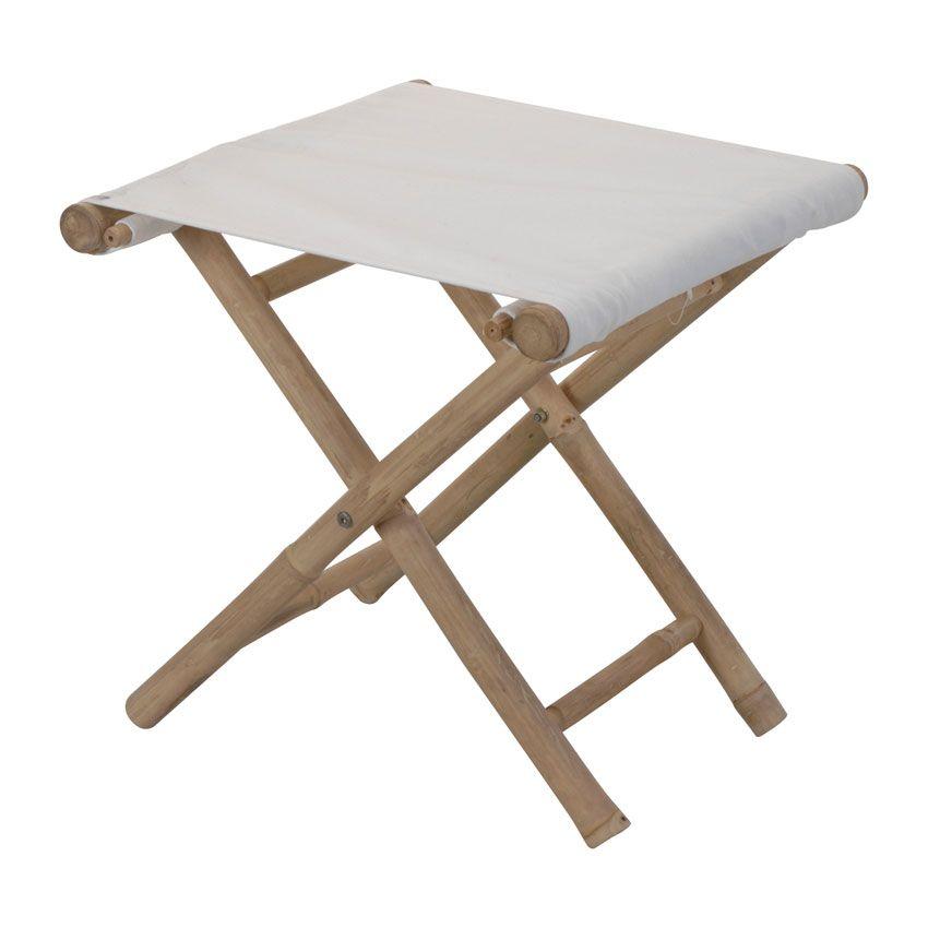 tabouret de jardin pliant bambou blanc chaise et. Black Bedroom Furniture Sets. Home Design Ideas