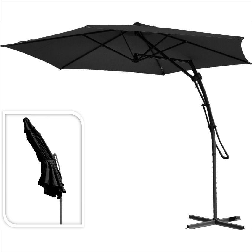 parasol d port rond push up d300 cm noir parasol d port eminza. Black Bedroom Furniture Sets. Home Design Ideas