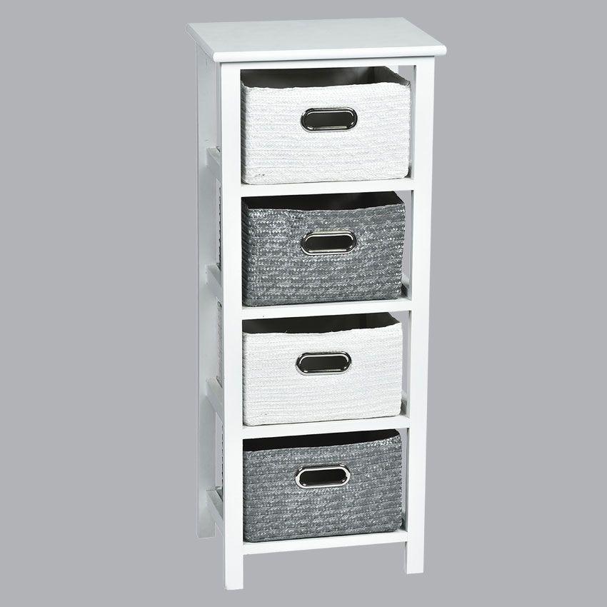 meuble panier blanc et gris meuble d co eminza. Black Bedroom Furniture Sets. Home Design Ideas