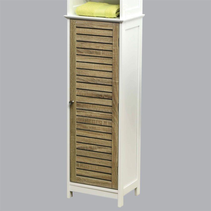 Eminza meuble colonne salle de bain stockholm bois for Meuble bois vieilli