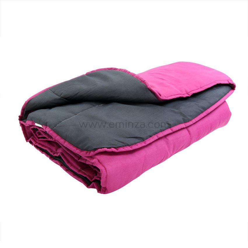 couette 140 cm bicolore prune et anthracite couette eminza. Black Bedroom Furniture Sets. Home Design Ideas