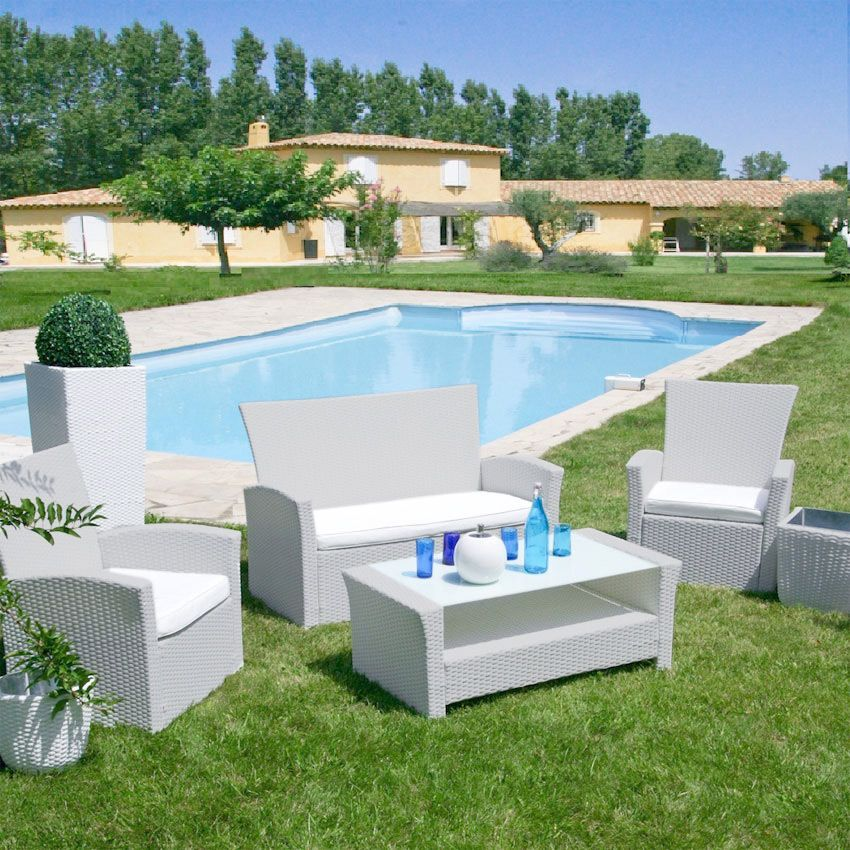 Salon de jardin Ibiza Blanc/Perle - 4 places - Salon de jardin ...