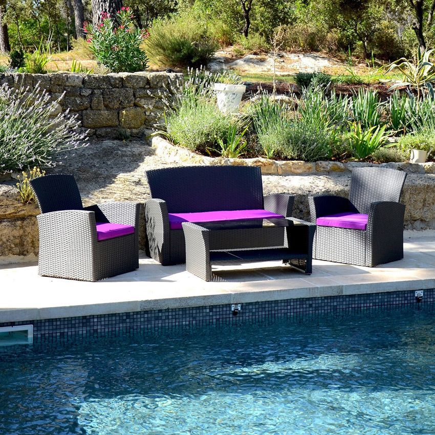 salon de jardin ibiza anthracite violet 4 places salon de jardin eminza. Black Bedroom Furniture Sets. Home Design Ideas