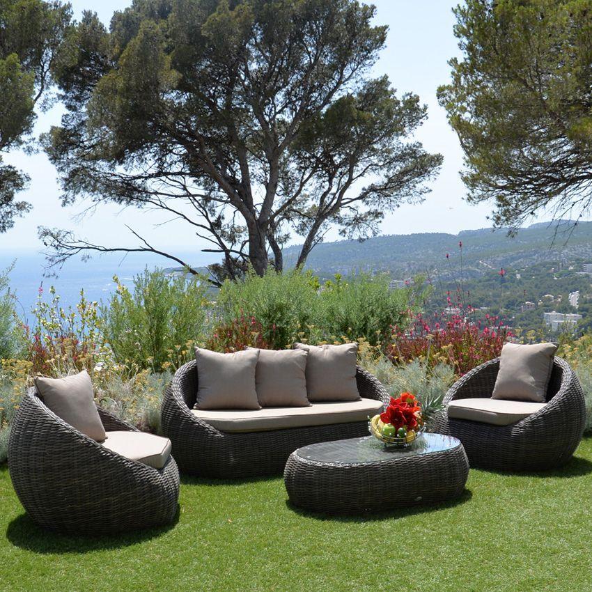 salon de jardin morea marron taupe 4 places salon de. Black Bedroom Furniture Sets. Home Design Ideas