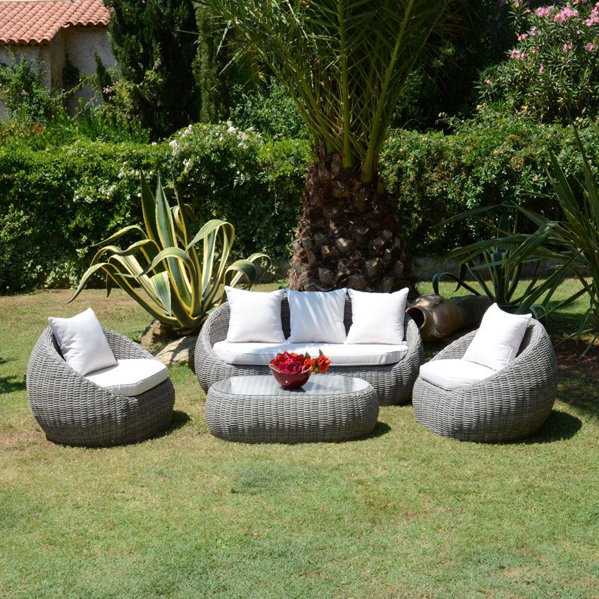 Salon de jardin morea taupe ecru 4 places salon de for Site mobilier jardin