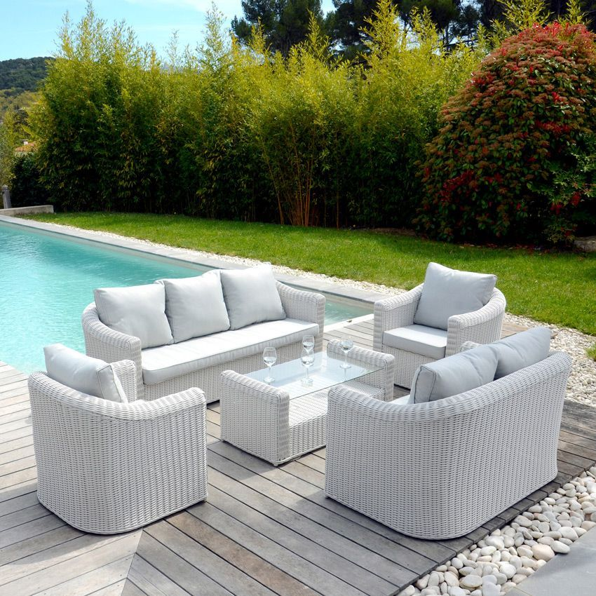 salon de jardin capri blanc perle 7 places salon de jardin eminza. Black Bedroom Furniture Sets. Home Design Ideas