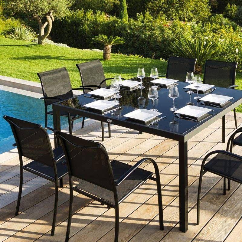 Fauteuil de jardin empilable piazza noir chaise et - Salon jardin empilable ...