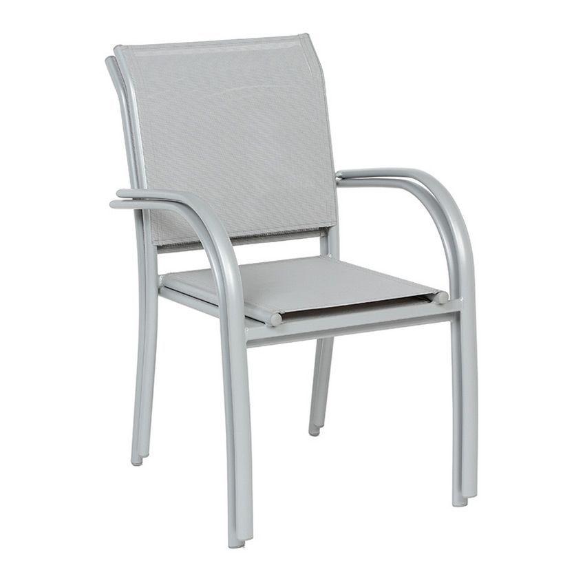 Fauteuil de jardin empilable piazza gris silver chaise for Fauteuil jardin tresse gris