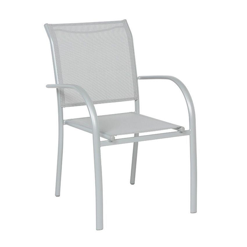 Fauteuil de jardin empilable piazza gris silver chaise et fauteuil de jardi - Fauteuil detente jardin ...
