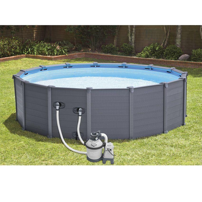piscine tubulaire ronde graphite 4 78 x h 1 24 m intex piscine et accessoires eminza. Black Bedroom Furniture Sets. Home Design Ideas
