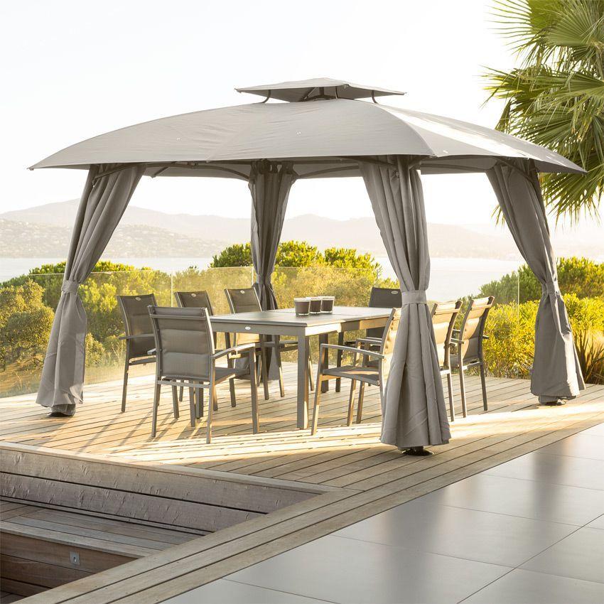 lot de 4 rideaux de tonnelle maldives 3 3 x 3 3 m. Black Bedroom Furniture Sets. Home Design Ideas