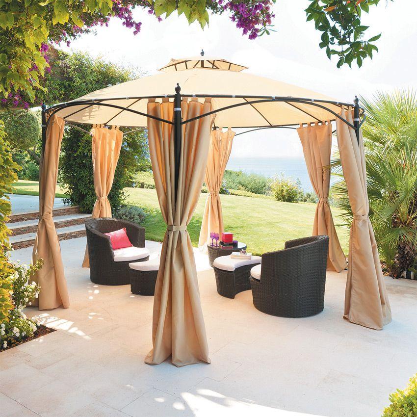 lot de 6 rideaux de tonnelle iloha beige structure. Black Bedroom Furniture Sets. Home Design Ideas