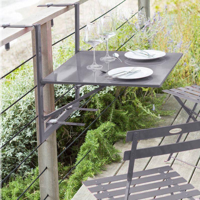 Tablette de balcon rabattable baltra 60 x 53 cm ardoise table de jardin eminza - Table de balcon rabattable ...