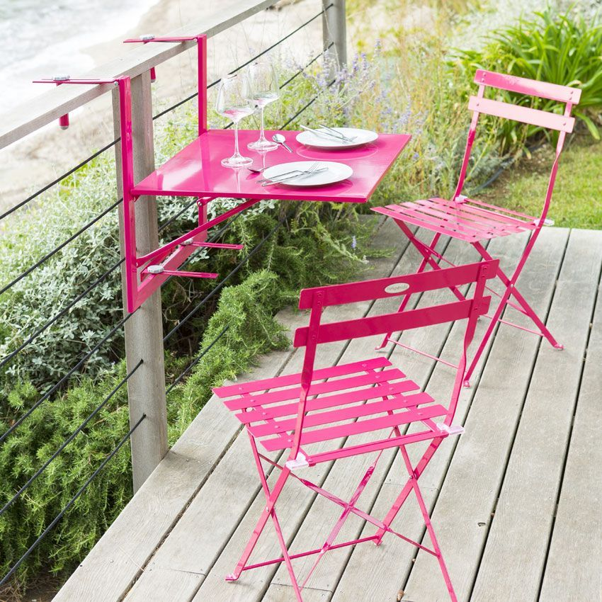Tablette de balcon rabattable camargue 60 x 53 cm framboise table de jardin eminza - Table de balcon rabattable ...