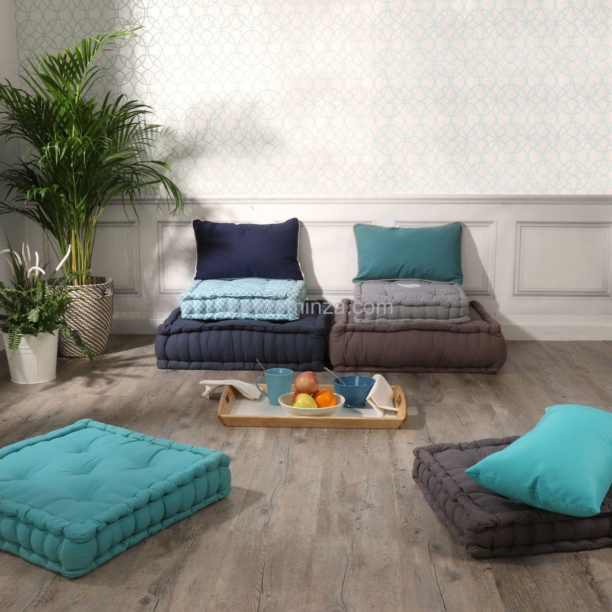 coussin de sol 45 cm nora celadon coussin de sol et pouf eminza. Black Bedroom Furniture Sets. Home Design Ideas