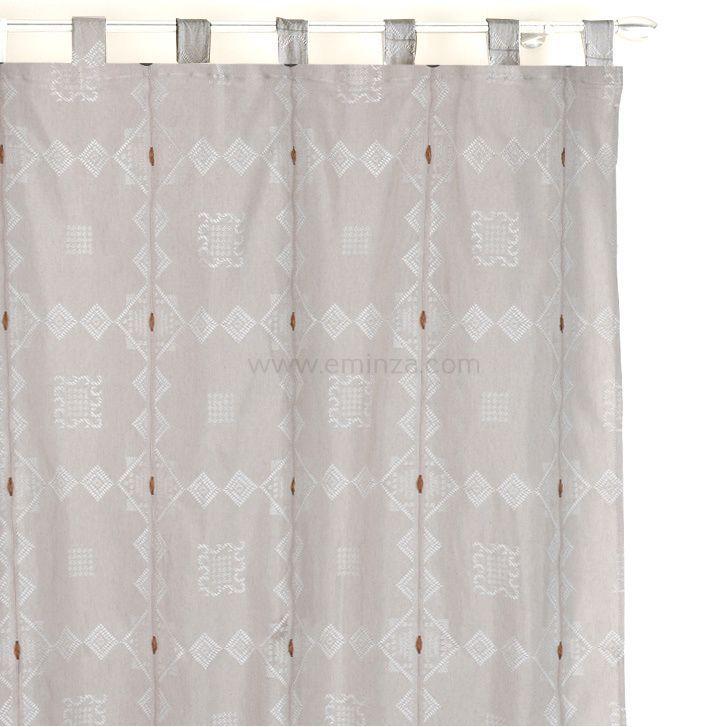 rideau 140 x h260 cm jacquard mathis lin rideau. Black Bedroom Furniture Sets. Home Design Ideas