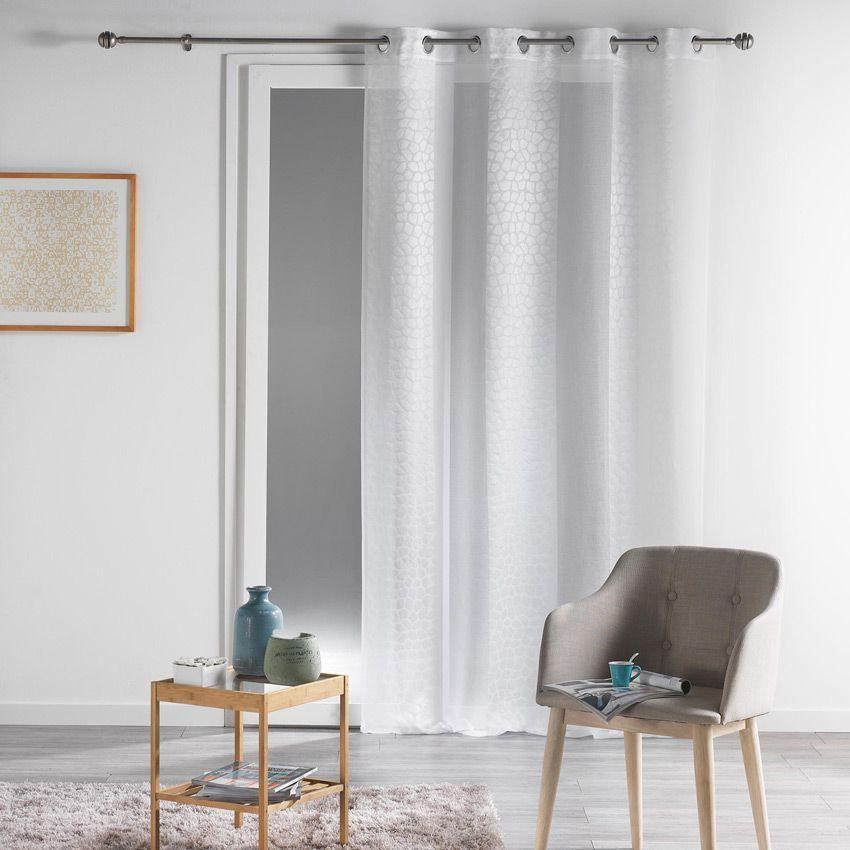 voilage 140 x h260 cm nuance blanc voilage eminza. Black Bedroom Furniture Sets. Home Design Ideas