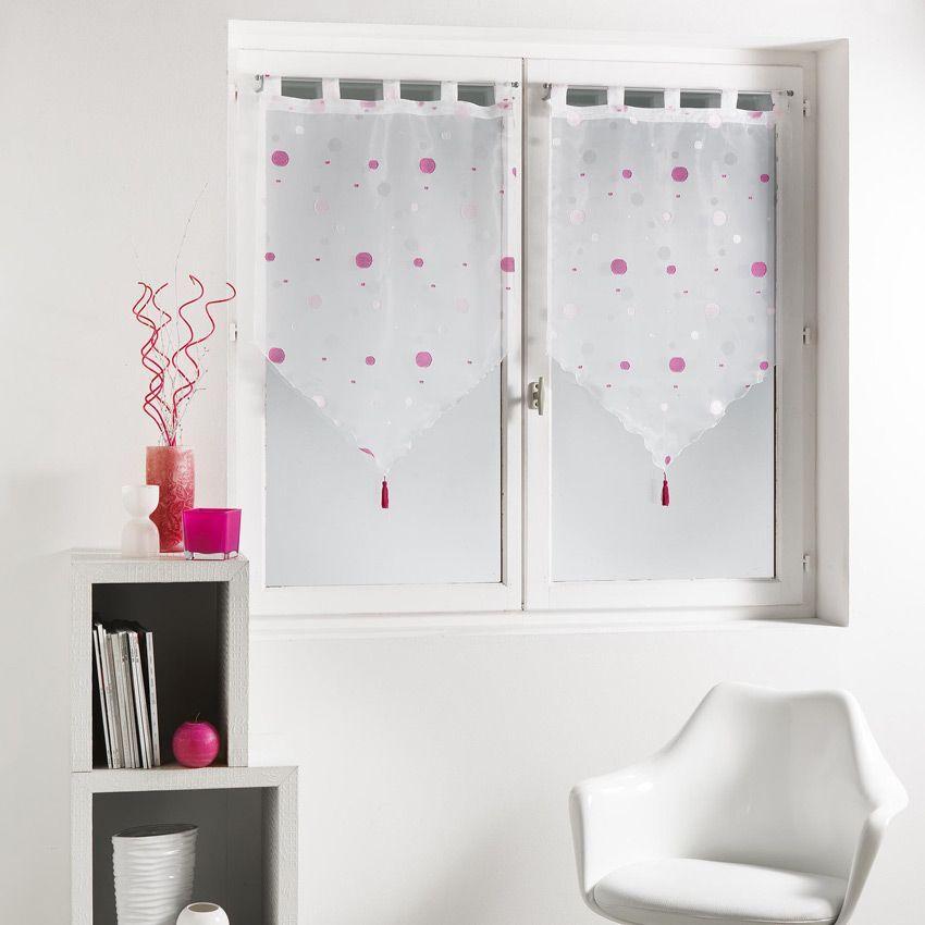 paire de voilages 60 x h90 cm jacquard yoyo rose. Black Bedroom Furniture Sets. Home Design Ideas