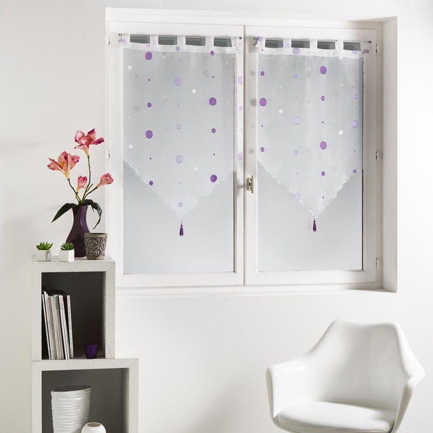 paire de voilages 60 x h160 cm jacquard yoyo violet rideau et voilage eminza. Black Bedroom Furniture Sets. Home Design Ideas