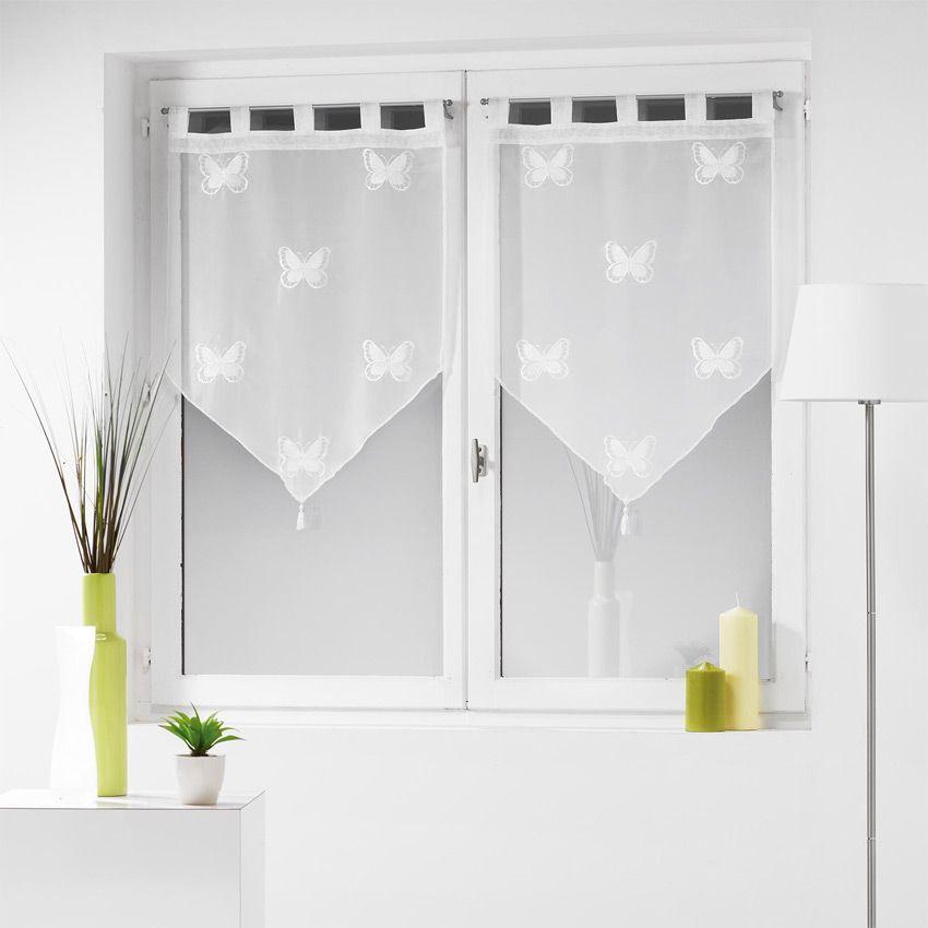 paire de voilages 60 x h160 cm brod papilu blanc rideau et voilage eminza. Black Bedroom Furniture Sets. Home Design Ideas