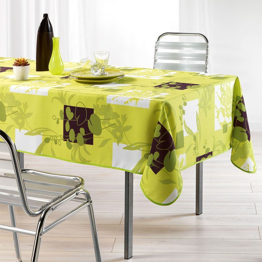 Nappe rectangulaire l240 cm nenuphar anis nappe de table eminza Linge de table luxe