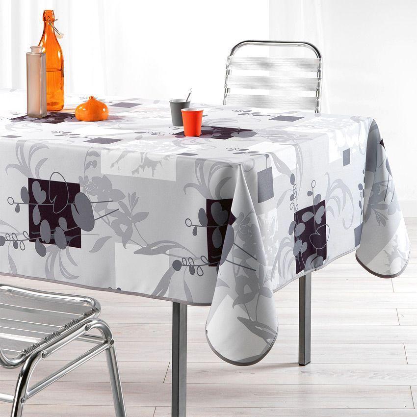 Nappe rectangulaire l240 cm nenuphar gris nappe de - Nappe table rectangulaire ...