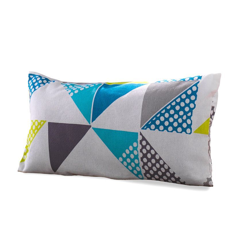 Coussin rectangulaire triangles anis coussin et housse for Housse de coussin vert anis