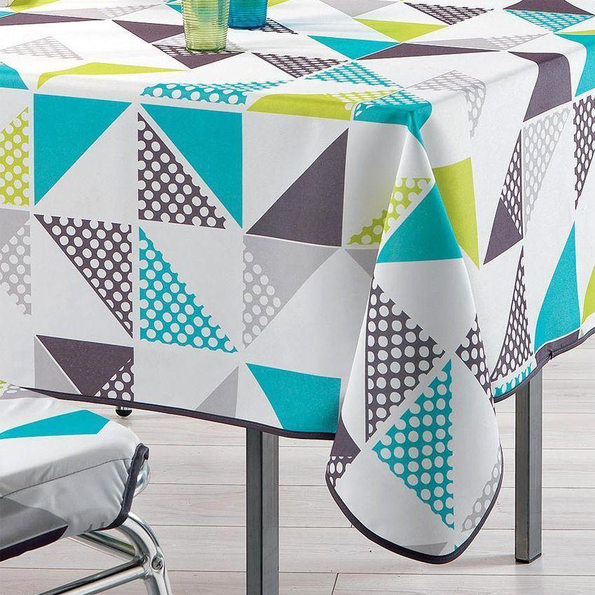 nappe rectangulaire l240 cm triangles anis nappe de table eminza. Black Bedroom Furniture Sets. Home Design Ideas