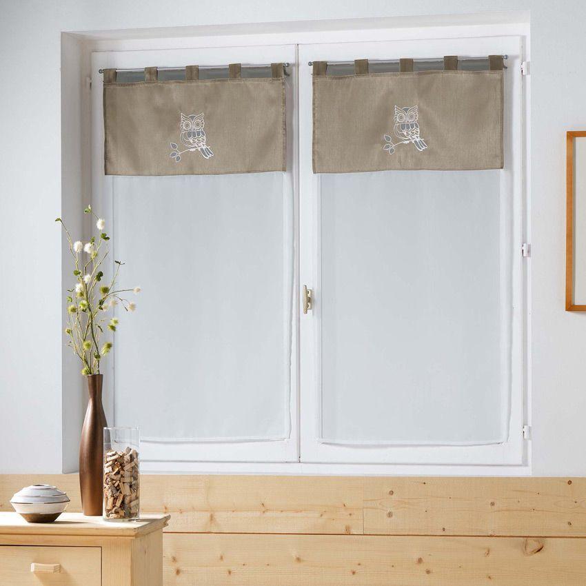 paire de voilages 60 x h160 cm brod bibou lin rideau et voilage eminza. Black Bedroom Furniture Sets. Home Design Ideas