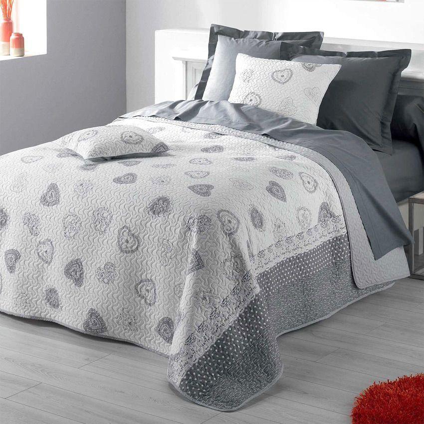 couvre lit 220 x 240 cm olympe gris couvre lit boutis eminza. Black Bedroom Furniture Sets. Home Design Ideas