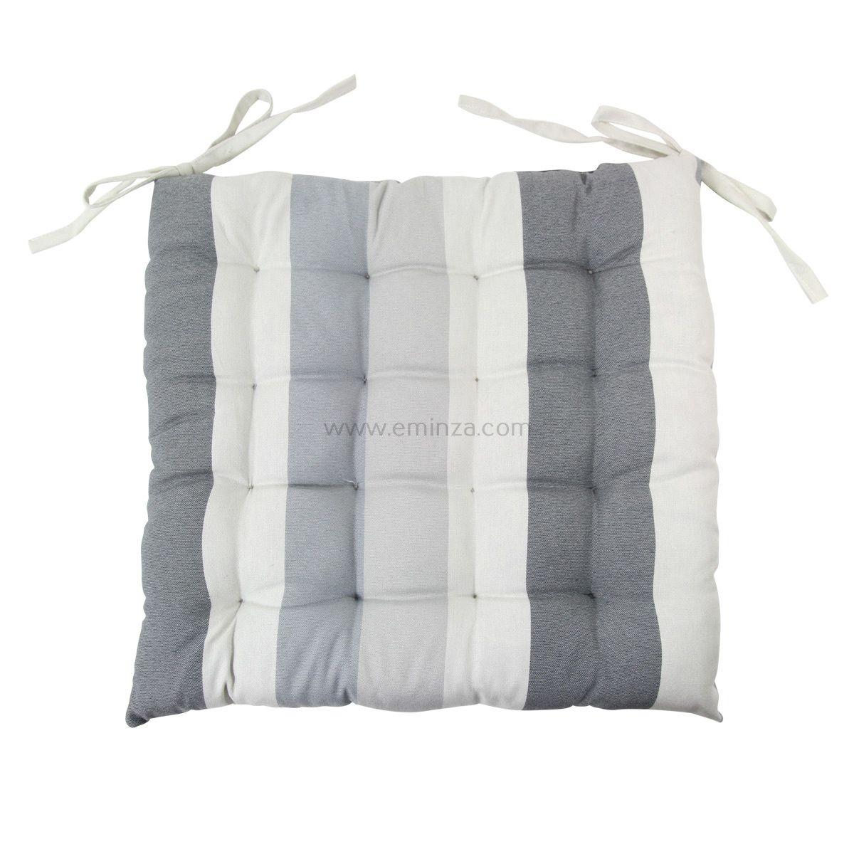 coussin de chaise rayure gris clair galette et coussin de chaise eminza. Black Bedroom Furniture Sets. Home Design Ideas