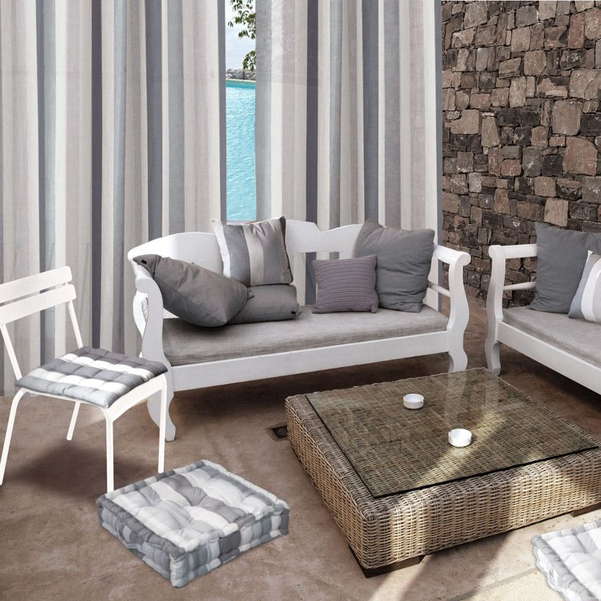 rideau 140 x h260 cm rayure gris clair rideau tamisant eminza. Black Bedroom Furniture Sets. Home Design Ideas
