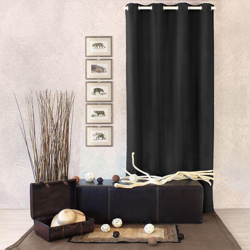 Rideau occultant 140 x h240 cm frapp noir rideau for Bar noir at maison 140