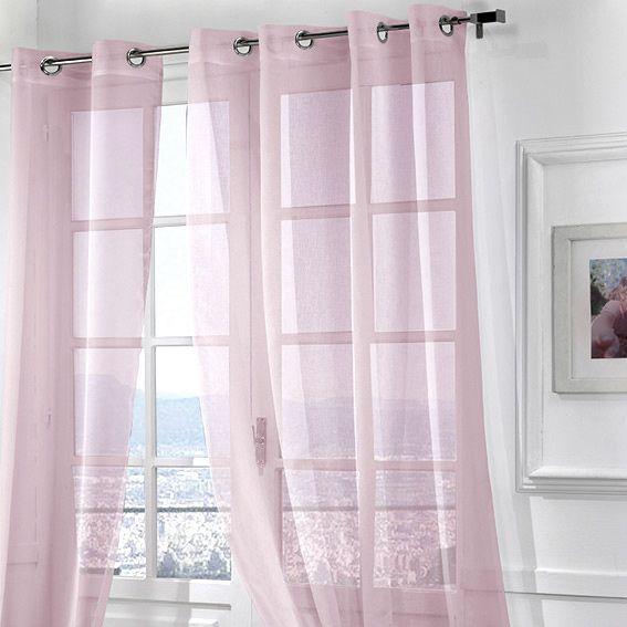voilage 140 x h240 cm m moire rose voilage eminza. Black Bedroom Furniture Sets. Home Design Ideas