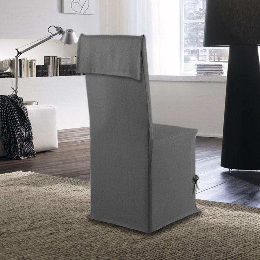 Housse de chaise victoria gris housse de chaise eminza - Housse de chaise gris ...