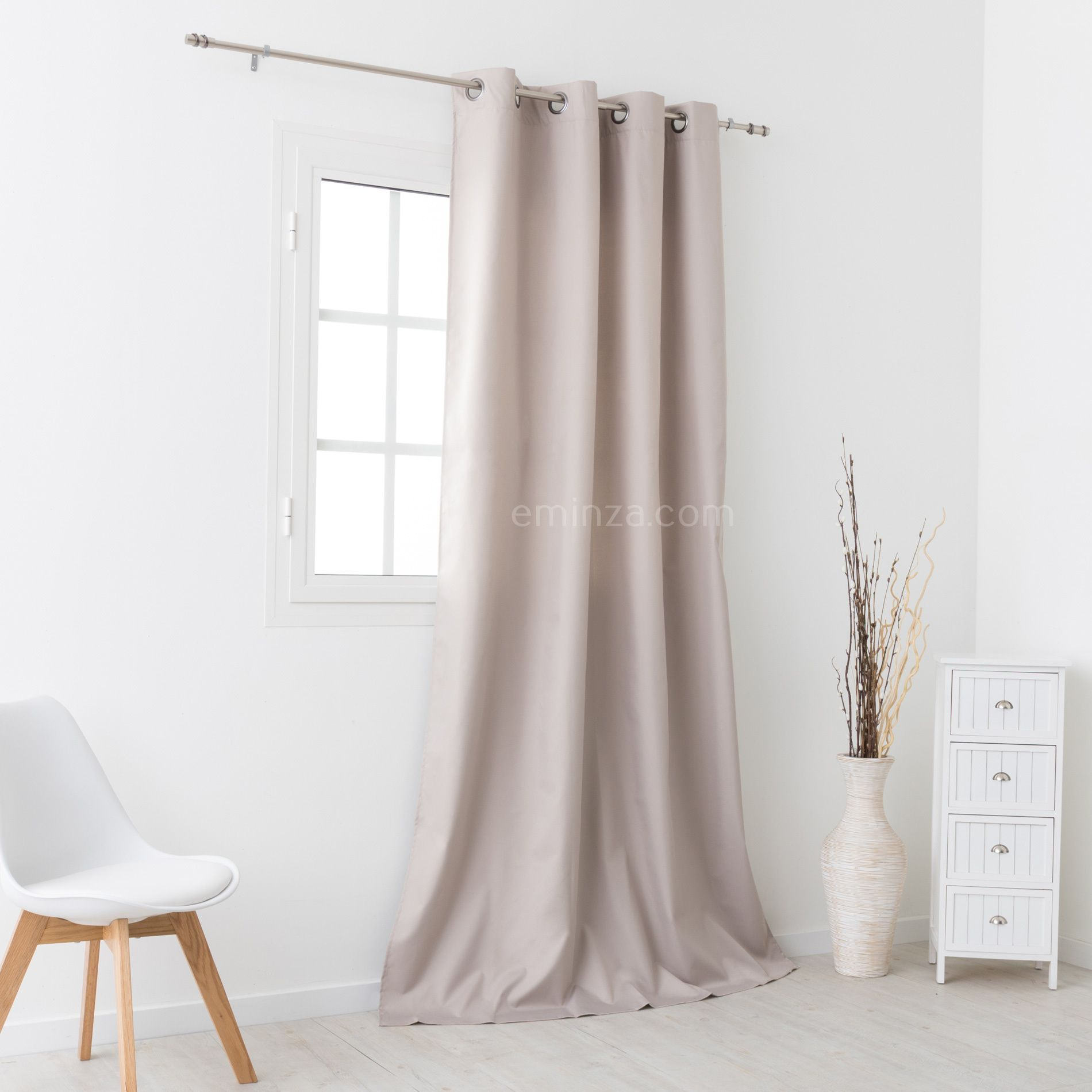 rideau thermique 140 x h250 cm sun taupe rideau isolant eminza. Black Bedroom Furniture Sets. Home Design Ideas