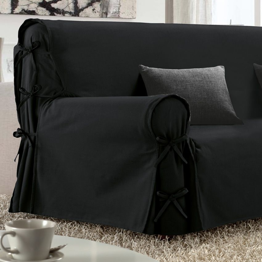 housse de canap 3 places victoria noir housse de canap eminza. Black Bedroom Furniture Sets. Home Design Ideas
