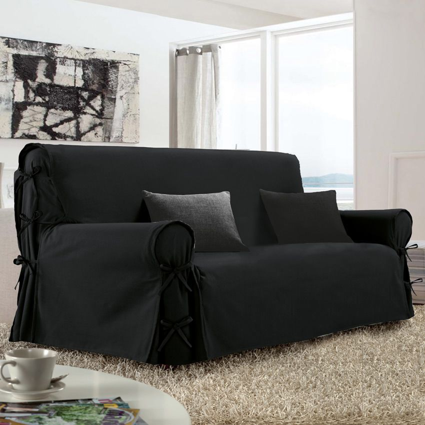 Housse de canap 3 places victoria noir housse de canap for Plaid canape 3 places