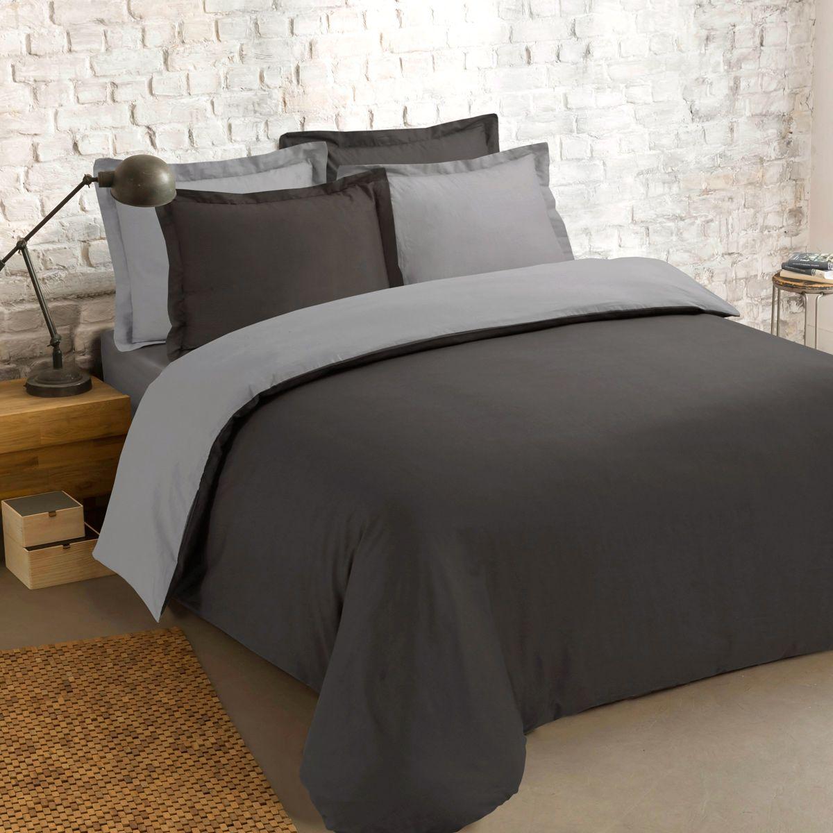 housse de couette et deux taies 240 cm bi color gris et anthracite housse de couette eminza. Black Bedroom Furniture Sets. Home Design Ideas
