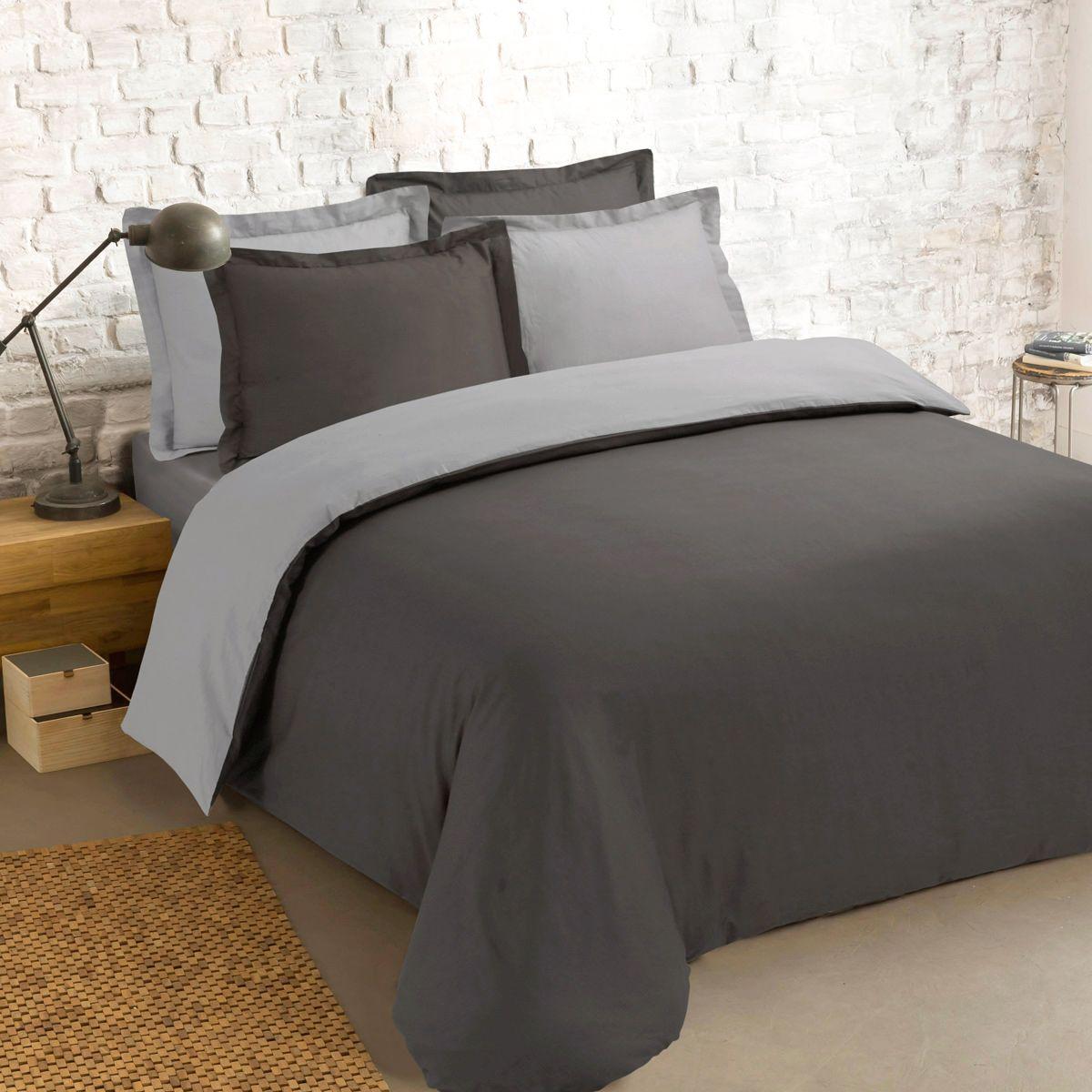 housse de couette et deux taies 260 cm bi color anthracite et gris housse de couette eminza. Black Bedroom Furniture Sets. Home Design Ideas