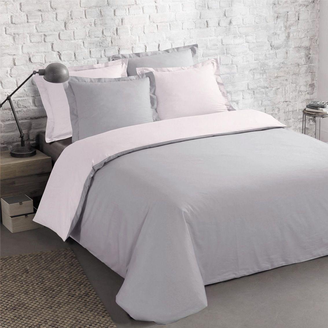 housse de couette et deux taies 260 cm bi color gris et rose housse de couette eminza. Black Bedroom Furniture Sets. Home Design Ideas