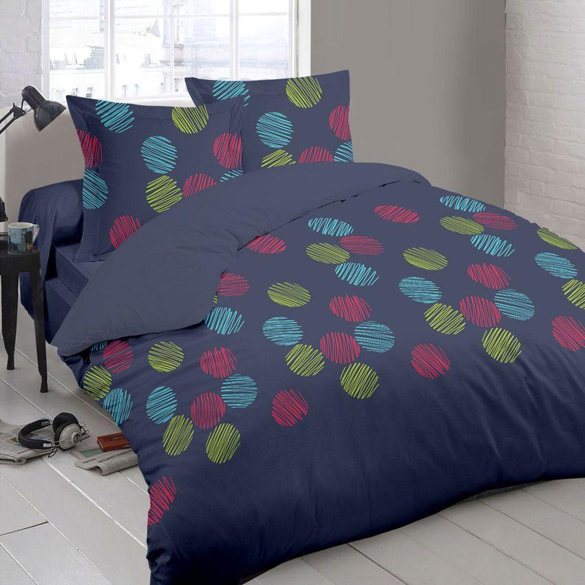 housse de couette et deux taies 240 cm popsy marine. Black Bedroom Furniture Sets. Home Design Ideas