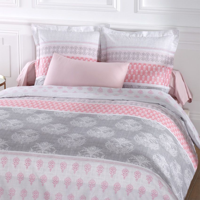 Housse de couette et deux taies 260 cm romane rose for Linge de maison housse de couette