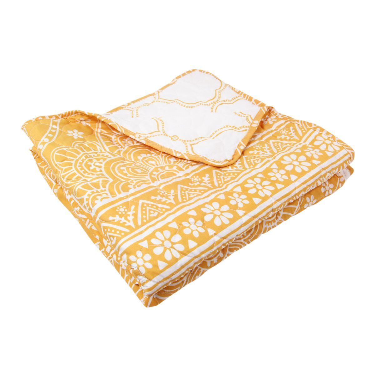 Plaid matelass mandala jaune jet de canap eminza for Jete de canape jaune