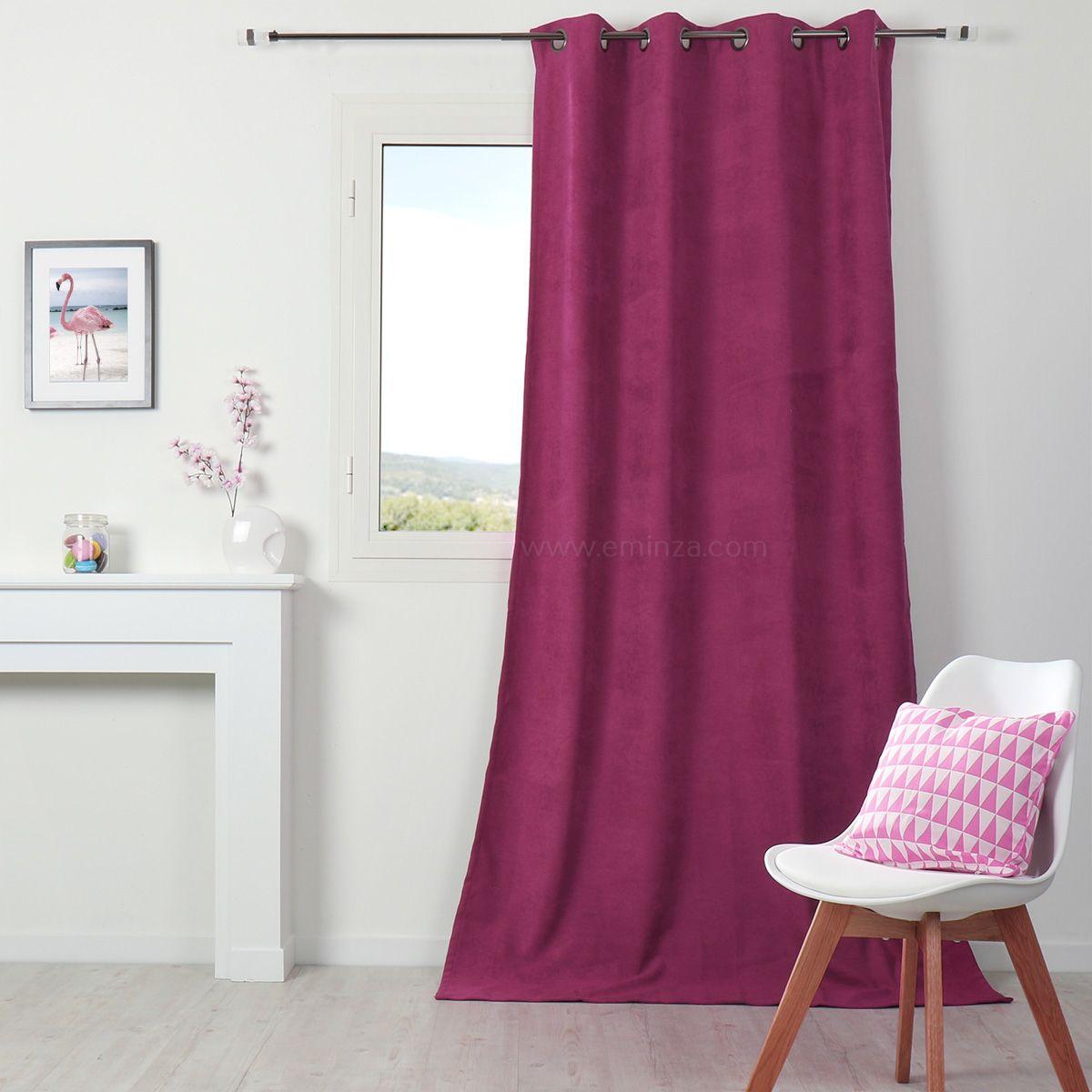 rideau occultant isolant 140 x h260 cm alaska framboise rideau isolant eminza. Black Bedroom Furniture Sets. Home Design Ideas