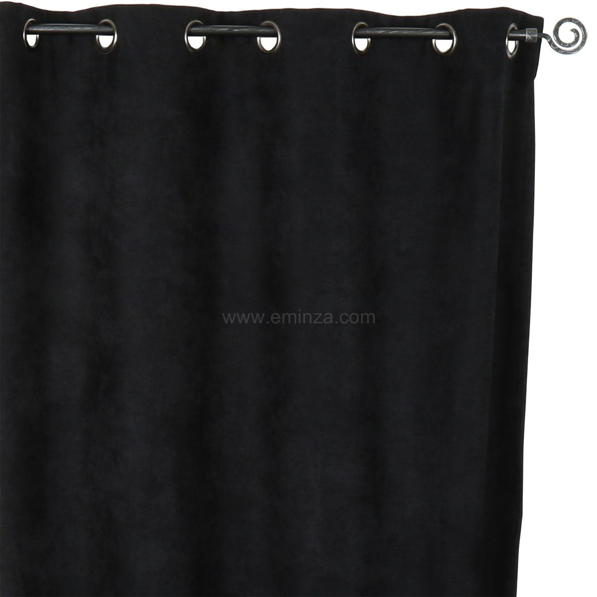rideau occultant isolant 140 x h260 cm alaska noir rideau isolant eminza. Black Bedroom Furniture Sets. Home Design Ideas
