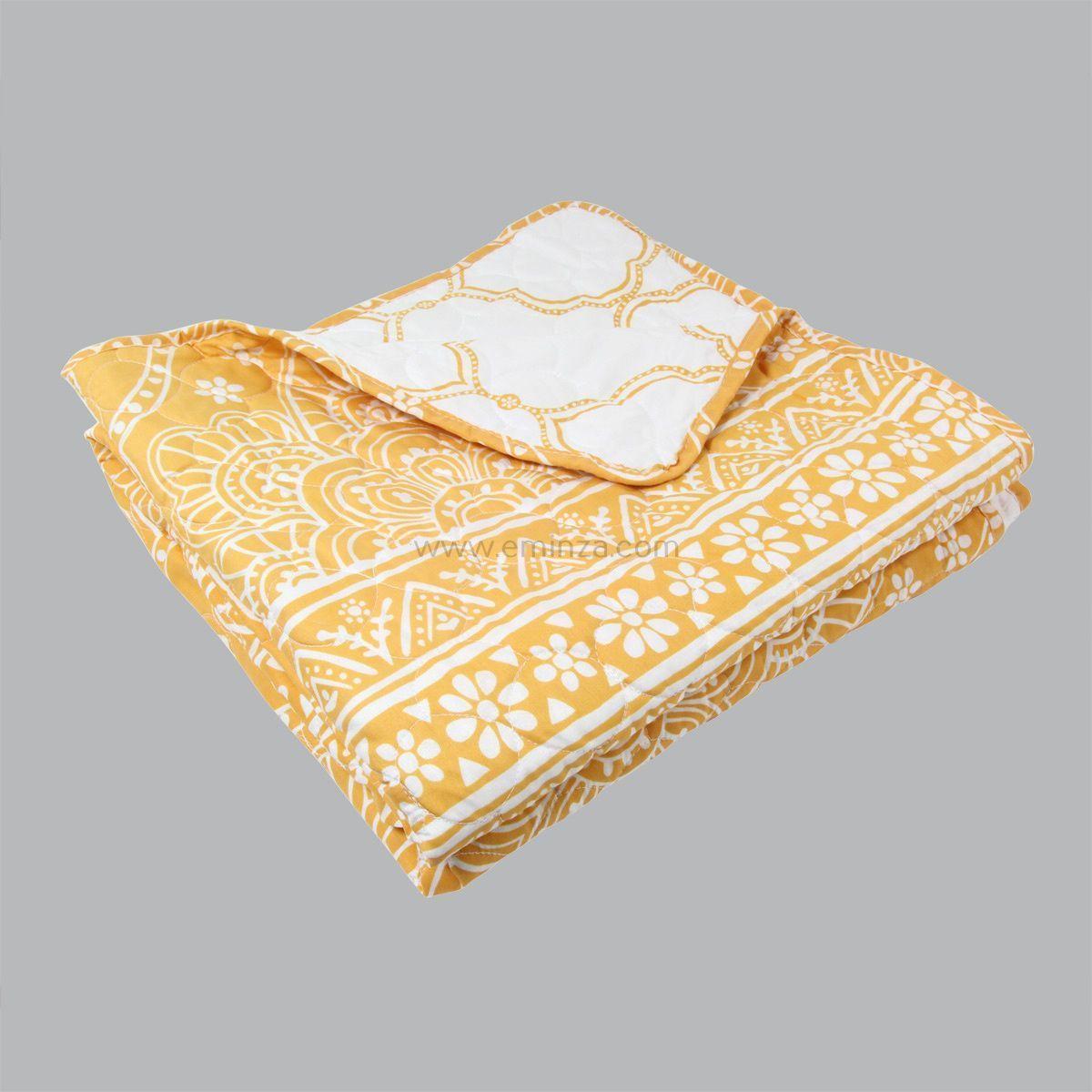 boutis et taie d 39 oreiller 180 x 240 cm mandala jaune couvre lit boutis eminza. Black Bedroom Furniture Sets. Home Design Ideas