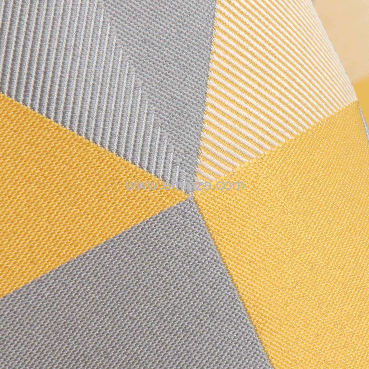 rideau tamisant 140 x h260 cm tangram jaune rideau. Black Bedroom Furniture Sets. Home Design Ideas